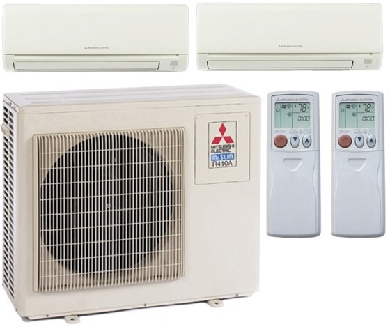 20 000 Btu H Mitsubishi Dual Zone Mini Split Heat Pump